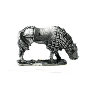 Half Armoured horse, grazing