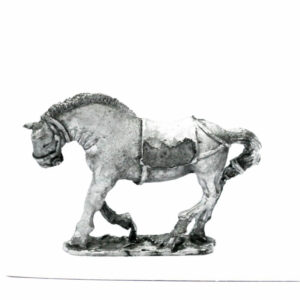 Chariot horse, head down