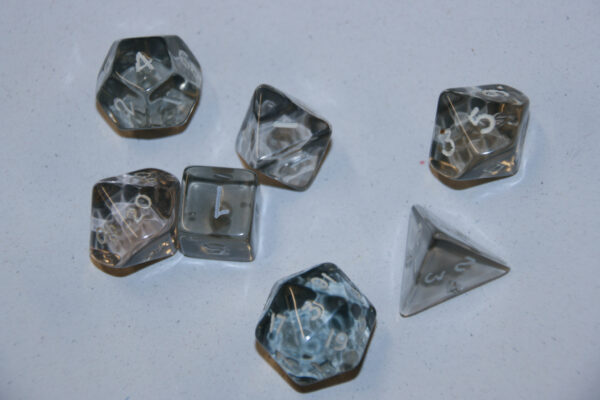Crystal Clear Dungeon Dice set